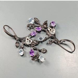 Amethyst Topaz & Aquamarine chandelier earrings